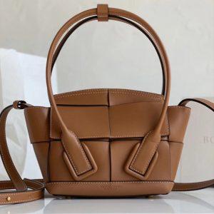 Replica Bottega Veneta 600606 BV Mini Arco Top-handle Bag In Brown Calfskin Leather