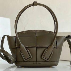 Replica Bottega Veneta 600606 BV Mini Arco Top-handle Bag In Dark Green Calfskin Leather