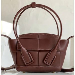 Replica Bottega Veneta 600606 BV Mini Arco Top-handle Bag In Bordeaux Calfskin Leather
