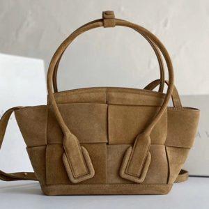Replica Bottega Veneta 600606 BV Mini Arco Top-handle Bag In Tan Suede Leather