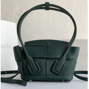 Replica Bottega Veneta 600606 BV Mini Arco Top-handle Bag In Green Calfskin Leather