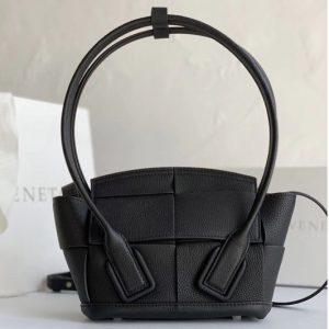 Replica Bottega Veneta 600606 BV Mini Arco Top-handle Bag In Black Calfskin Leather