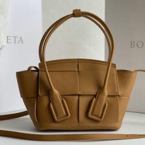 Replica Bottega Veneta 600606 BV Mini Arco Top-handle Bag In Tan Calfskin Leather