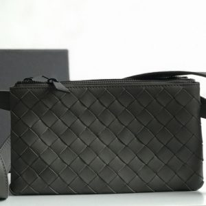 Replica Bottega Veneta 609692 BV Mini messenger bag In Gray classic woven nappa leather