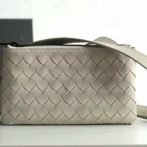 Replica Bottega Veneta 609692 BV Mini messenger bag In White classic woven nappa leather