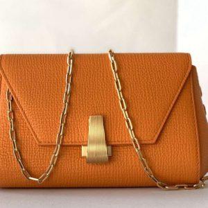 Replica Bottega Veneta 608798 Mini BV Angle Shoulder Bags in Orange grainy textured calfskin