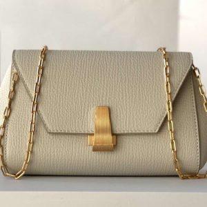 Replica Bottega Veneta 608798 Mini BV Angle Shoulder Bags in Beige grainy textured calfskin