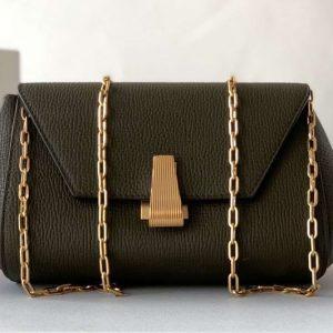 Replica Bottega Veneta 608798 Mini BV Angle Shoulder Bags in Dark Green grainy textured calfskin