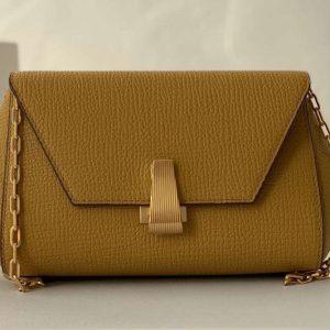 Replica Bottega Veneta 608798 Mini BV Angle Shoulder Bags in Dark Lemon grainy textured calfskin