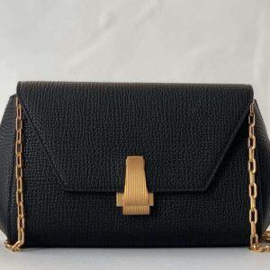 Replica Bottega Veneta 608798 Mini BV Angle Shoulder Bags in Black grainy textured calfskin