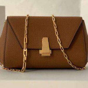 Replica Bottega Veneta 608798 Mini BV Angle Shoulder Bags in Brown grainy textured calfskin