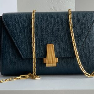 Replica Bottega Veneta 608798 Mini BV Angle Shoulder Bags in Navy Blue grainy textured calfskin