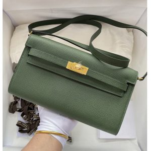 Replica Hermes Kelly Classique To Go Woc Wallet In Green Epsom Leather With Gold Buckle