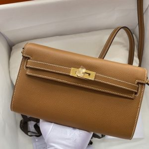 Replica Hermes Kelly Classique To Go Woc Wallet In Brown Epsom Leather With Gold Buckle