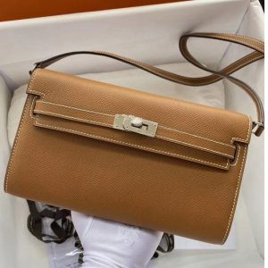 Replica Hermes Kelly Classique To Go Woc Wallet In Brown Epsom Leather With Silver Buckle