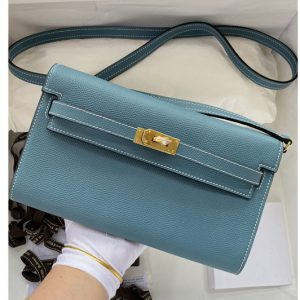 Replica Hermes Kelly Classique To Go Woc Wallet In Blue Epsom Leather With Gold Buckle