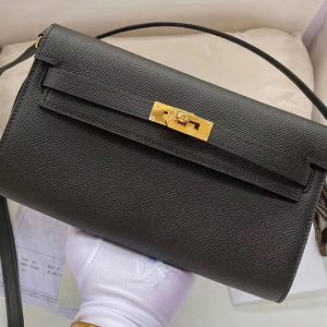 Replica Hermes Kelly Classique To Go Woc Wallet In Black Epsom Leather With Gold Buckle