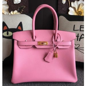 Replica Hermes Birkin 30 Tote Bags Full Handstitched in Pink Epsom Leather