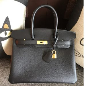 Replica Hermes Birkin 30 Tote Bags Full Handstitched in Black Epsom Leather With Gold Buckle