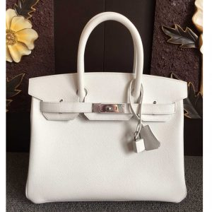 Replica Hermes Birkin 30 Tote Bags Full Handstitched in White Epsom Leather With Silver Buckle
