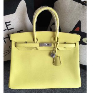 Replica Hermes Birkin 30 Tote Bags Full Handstitched in Yellow Epsom Leather With Silver Buckle