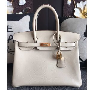 Replica Hermes Birkin 30 Tote Bags Full Handstitched in White Epsom Leather With Gold Buckle