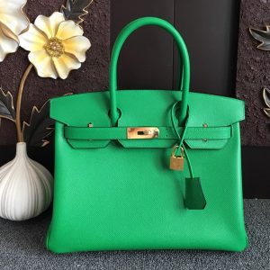 Replica Hermes Birkin 30 Tote Bags Full Handstitched in Green Epsom Leather With Gold Buckle
