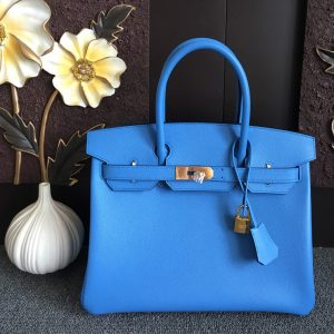 Replica Hermes Birkin 30 Tote Bags Full Handstitched in Blue Epsom Leather With Gold Buckle