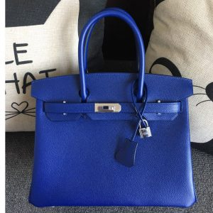 Replica Hermes Birkin 30 Tote Bags Full Handstitched in Blue Epsom Leather With Silver Buckle