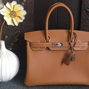 Replica Hermes Birkin 30 Tote Bags Full Handstitched in Brown Epsom Leather With Silver Buckle