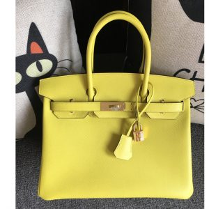 Replica Hermes Birkin 30 Tote Bags Full Handstitched in Lemon Epsom Leather With Gold Buckle