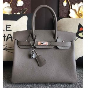 Replica Hermes Birkin 30 Tote Bags Full Handstitched in Gray Epsom Leather With Silver Buckle