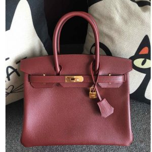 Replica Hermes Birkin 30 Tote Bags Full Handstitched in Bordeaux Epsom Leather With Gold Buckle