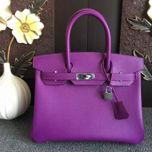 Replica Hermes Birkin 30 Tote Bags Full Handstitched in Purple Epsom Leather With Silver Buckle
