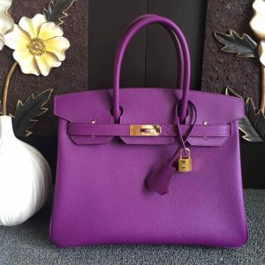 Replica Hermes Birkin 30 Tote Bags Full Handstitched in Purple Epsom Leather With Gold Buckle