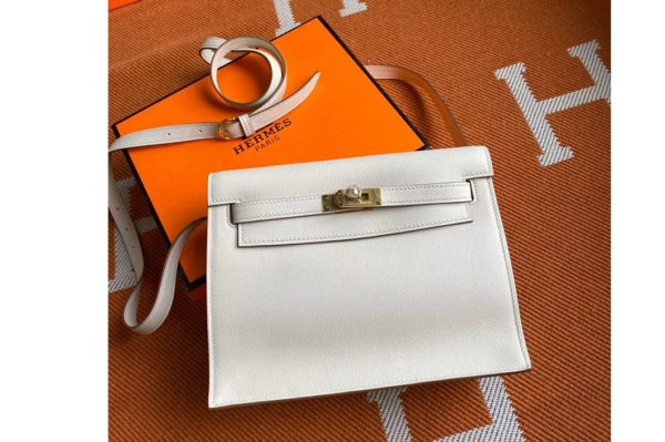 Replica Hermes Kelly Danse 22cm Bag in White Evercolor Leather with Silver Buckle