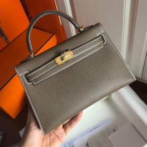 Replica Hermes Mini Kelly 19cm Bag Full Handmade in Elephant Gray Epsom Leather With Gold/Silver Buckle