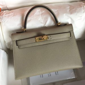 Replica Hermes Mini Kelly 19cm Bag Full Handmade in Green Epsom Leather With Gold Buckle
