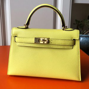 Replica Hermes Mini Kelly 19cm Bag Full Handmade in Lemon Epsom Leather With Gold/Silver Buckle