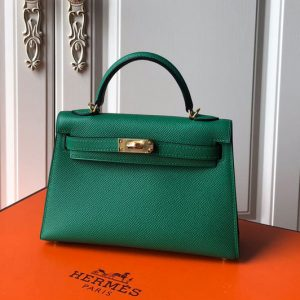 Replica Hermes Mini Kelly 19cm Bag Full Handmade in Green Epsom Leather With Gold/Silver Buckle