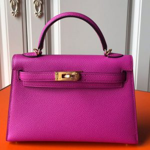 Replica Hermes Mini Kelly 19cm Bag Full Handmade in Raspberry Epsom Leather With Gold/Silver Buckle