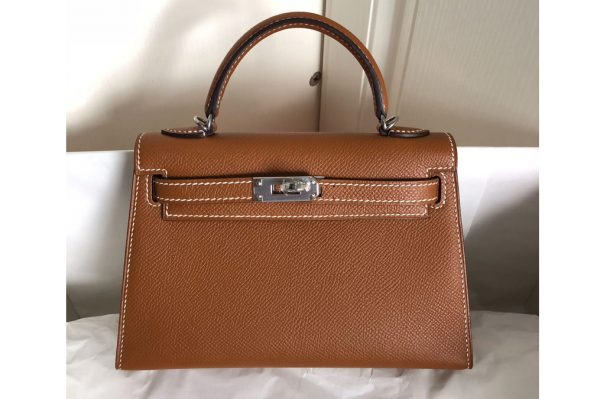 Replica Hermes Bags Hermes Mini Kelly 19cm Bag Full Handmade in Brown Epsom Leather With Gold/Silver Buckle