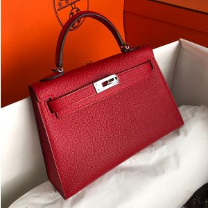 Replica Hermes Mini Kelly 19cm Bag Full Handmade in Red Epsom Leather With Gold/Silver Buckle