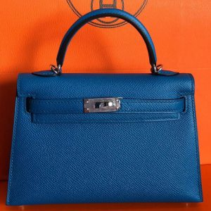 Replica Hermes Mini Kelly 19cm Bag Full Handmade in Blue Epsom Leather With Gold/Silver Buckle