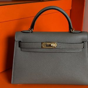 Replica Hermes Mini Kelly 19cm Bag Full Handmade in Dark Gray Epsom Leather With Gold/Silver Buckle