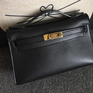 Replica Hermes Mini Kelly 22cm Pochette Bag Full Handmade in Black Swift Leather With Gold Buckle