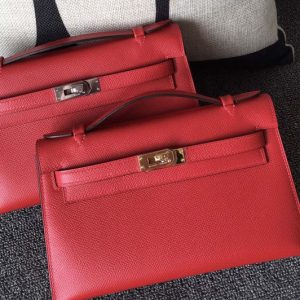 Replica Hermes Mini Kelly 22cm Pochette Bag Full Handmade in Red Epsom Leather With Gold/Silver Buckle