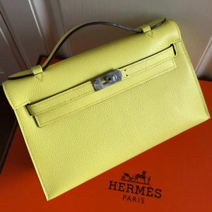 Replica Hermes Mini Kelly 22cm Pochette Bag Full Handmade in Lemon Epsom Leather With Silver Buckle