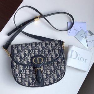 Replica Christian Dior M9319 Medium Dior Bobby Bag in Blue Dior Oblique