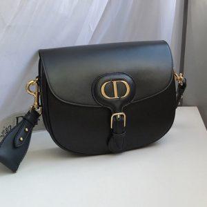 Replica Christian Dior M9319 Medium Dior Bobby Bag in Black Box Calfskin
